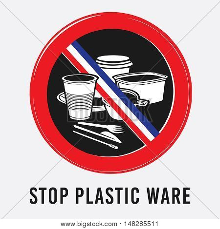 vector plastic, tableware, glass, bowl, cup, knife, fork stick stop sign environment ban French flag