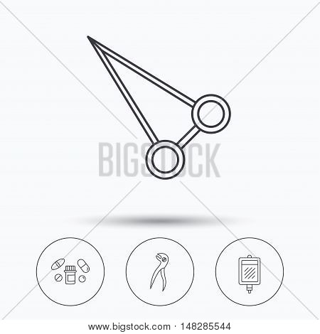 Medical pills, blood and dental pliers icons. Peans forceps linear sign. Linear icons in circle buttons. Flat web symbols. Vector