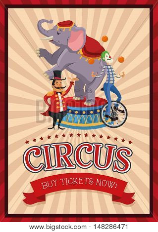 Elephant clown and presenter cartoon icon. Circus carnival and festival theme. Colorful  design. Vector illustration