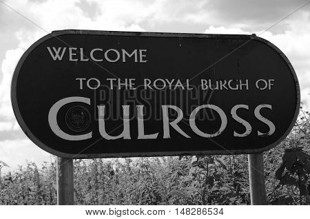 A view of the entrance sign at the village of Culross