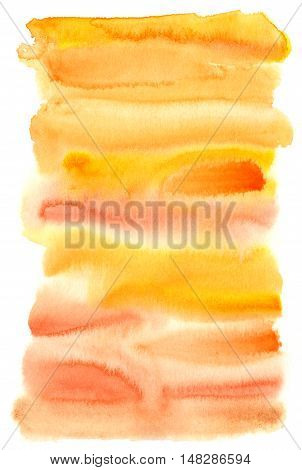 Abstract hand painted orange yellow watercolor background