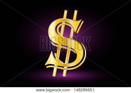 Illustration of dollar symbol ,dollar symbol,dollar symbol on a purple background