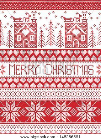 Merry Christmas Scandinavian Textile style, inspired by Norwegian Christmas, festive winter seamless pattern in cross stitch with gingerbread house, Christmas tree, heart, reindeer, sleigh, presents