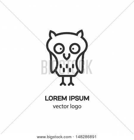 Line style logotype with an owl. Isolated on white background and easy to use. Clean and minimalist symbol. Modern easy to edit logo template.