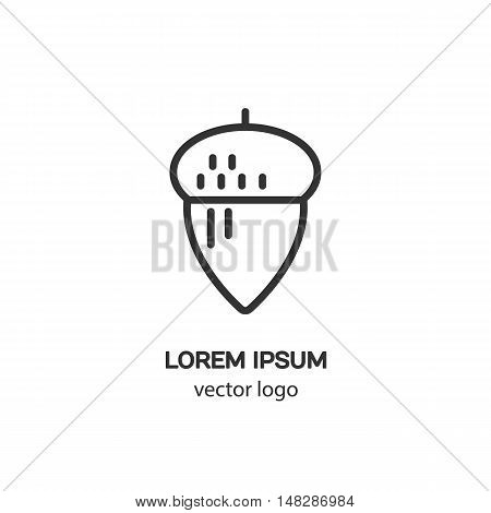 Line style logotype with acorn. Isolated on white background and easy to use. Clean and minimalist symbol. Modern easy to edit logo template.