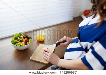 Cutting Vegetables For Salad