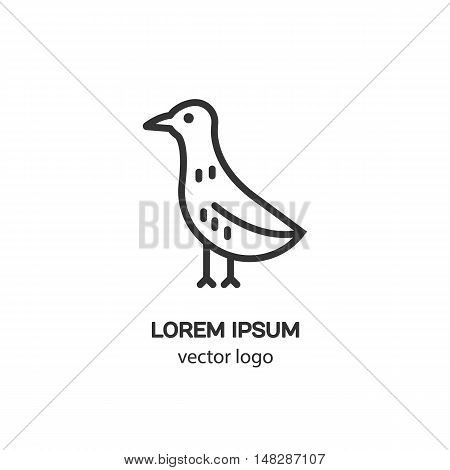 Line style logotype with the bird . Isolated on white background and easy to use. Clean and minimalist symbol. Modern easy to edit logo template.