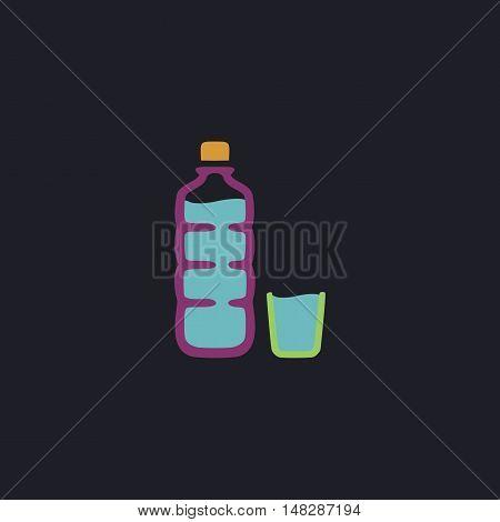 Plastic bottle Color vector icon on dark background