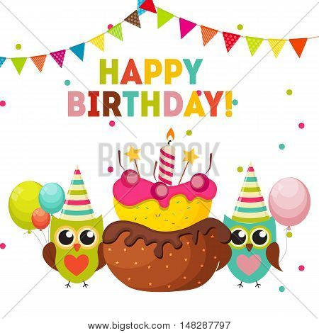 Cute Owl Happy Birthday Background with Balloons and Place for Your Text Vector Illustration EPS10