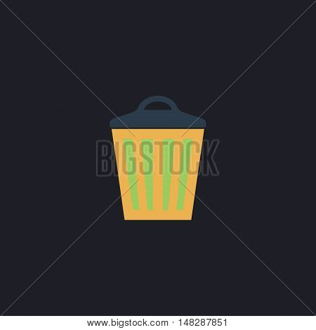 Trash can Color vector icon on dark background