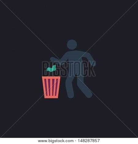 Trash bin Color vector icon on dark background