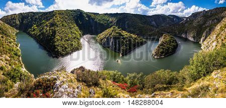 .Meanders at rocky river Uvac gorge on sunny day, southwest Serbia.