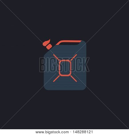Jerrycan oil Color vector icon on dark background