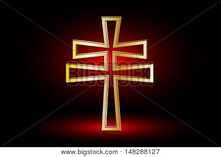 cross on a red background ,double religious cross ,Christian double cross