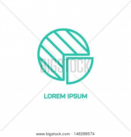 Line style logotype template with schedule. Isolated on background and easy to use. Clean and minimalistic symbol. Economic concept.