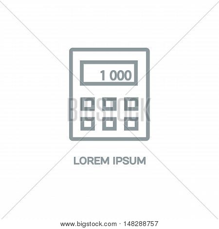 Line style logotype template with a calculator. Isolated on background and easy to use. Clean and minimalistic symbol. Economic concept.