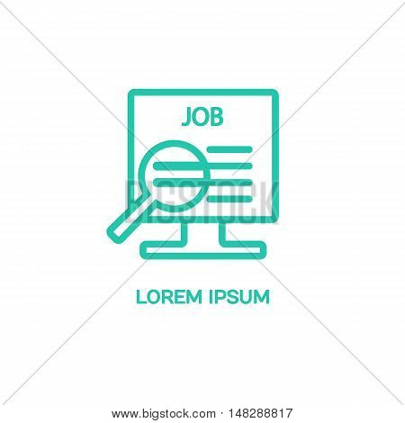 Line style logotype template with the electronic catalog. Isolated on background and easy to use. Clean and minimalistic symbol. Economic concept. job search