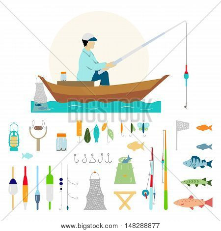 Big collection of fishing gear and other fishing related. Fisherman in a boat fishing: fishing rod hooks bait boat fish water. Vector flat illustrations.