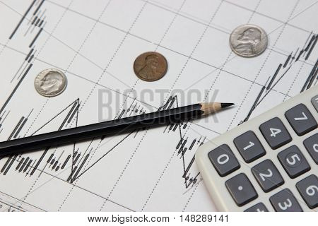 calculator pencil and coins . Dow Jones index. currency rates on Forex