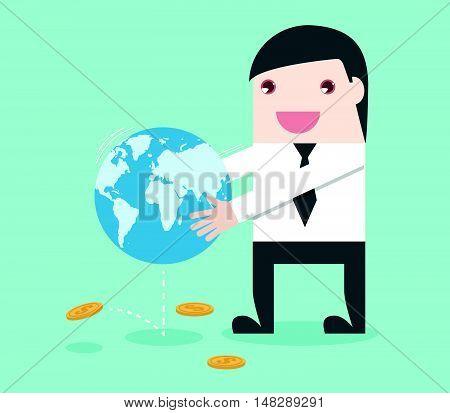 Businessman Shake The World To Make Money