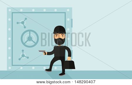 A man wearing black with mask to disguise doing crime hacking bank safe. Criminal, illegal concept. A Contemporary style with pastel palette, soft blue tinted background. flat design illustration