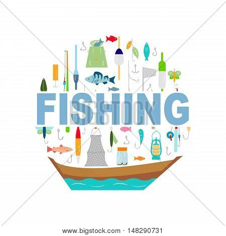 The inscription Fishing. Fishing rod fishing reel hooks. Icons and illustrations for design website infographic poster advertising. Fat style.