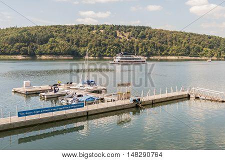GERMANY - EDERSEE - MEDIA AUGUST 2016: Quay in the Edersee in Germany.