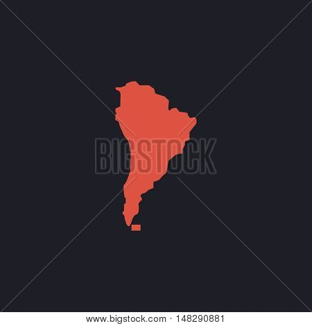 South america Color vector icon on dark background