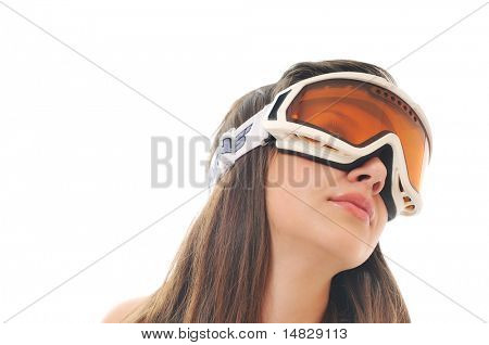 one young woman with ski googles isolated on white