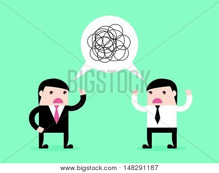 Two Businessman Talking Confused