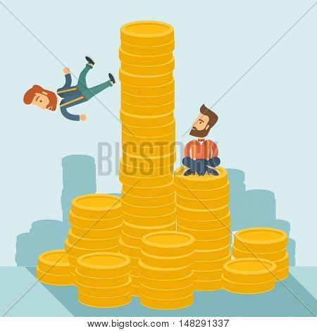 Happy businessman sitting with self confidence on the top of a coin while competitor feel sad on his falling down from higher piled coin as a symbol of unsuccessful business. A contemporary style with