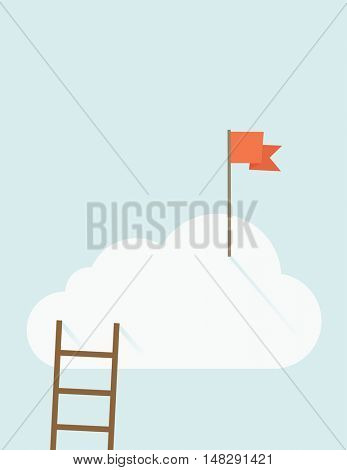A ladder with red flag on top of the cloud. A contemporary style with pastel palette soft blue tinted background with desaturated clouds. flat design illustration. Vertical layout with text space on