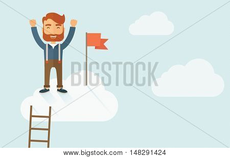 A hipster businessman climbed using the ladder and standing on the top of the cloud holding the red flag. Leadership concept. A contemporary style with pastel palette soft blue tinted background with