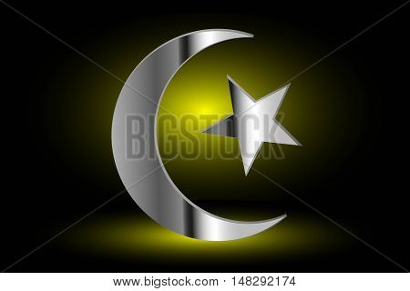 Muslim symbol, Islam Symbol ,Crescent and Star ,icon of Islam on a yellow background