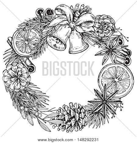Merry Christmas and Happy New Year greeting card with hand drawn winter plants, pine cones, spices, bells. Black and white vector illustration. Xmas wreath