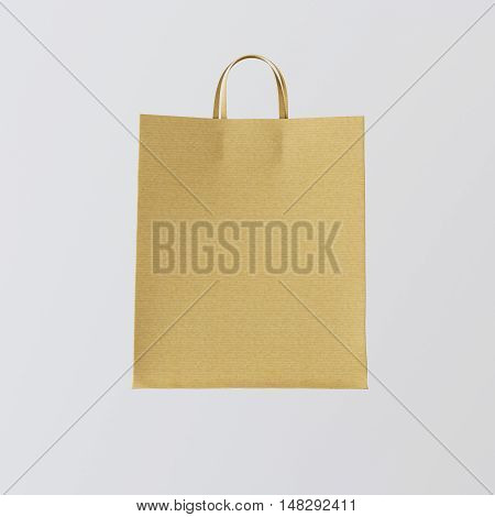 Closeup Kraft Paper Bag Isolated Center White Empty Background.Mockup Highly Detailed Texture Materials.Space for Business Message. Square. 3D rendering