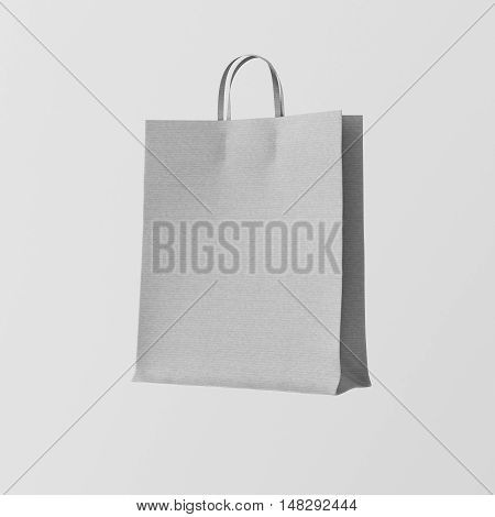 Closeup Gray Kraft Paper Bag Isolated Center White Empty Background.Mockup Highly Detailed Texture Materials.Space for Business Text Message. Square. 3D rendering