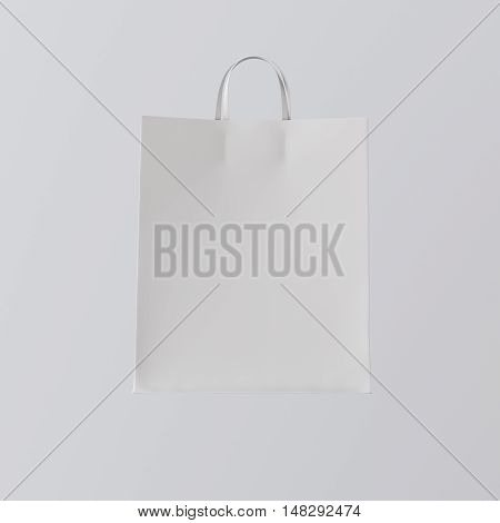 Closeup White Paper Bag Isolated Center Gray Empty Background.Mockup Highly Detailed Texture Materials.Space for Business Message. Square. 3D rendering