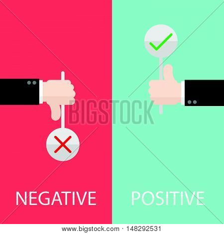 Negative And Positive Feedback By Hand With Sign Check And Cross