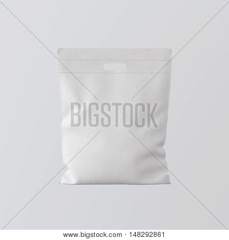 Closeup White Color Leather Small Bag Isolated Center Gray Empty Background.Mockup Highly Detailed Texture Materials.Space for Business Text Message. Square. 3D rendering