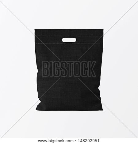 Closeup Black Color Textile Small Bag Isolated Center White Empty Background.Mockup Highly Detailed Texture Materials.Space for Business Text Message. Square. 3D rendering