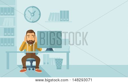 A sad hipster Caucasian businessman with beard sitting infront of his table looking at laptop having a problem reaching the deadline of his report. A contemporary style with pastel palette soft blue