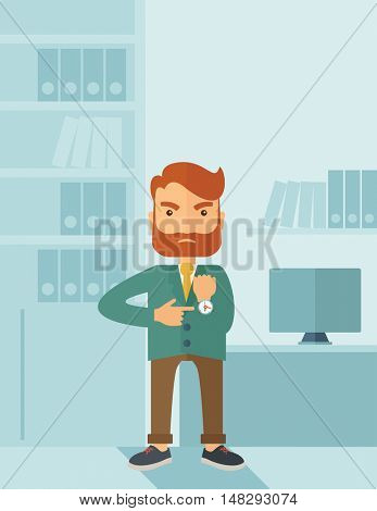 A hipster Caucasian businessman with beard standing angry pointing his wristwatch inside his office. Angry concept . A contemporary style with pastel palette soft blue tinted background. flat design
