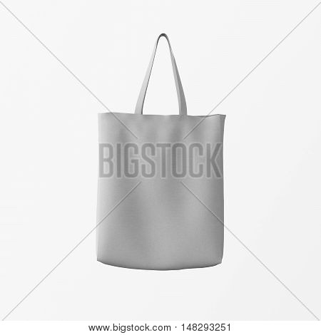 Closeup Gray Cotton Textile Bag Hanging Center White Empty Background.Isolated Mockup Highly Detailed Texture Materials.Space for Business Message. Square. 3D rendering