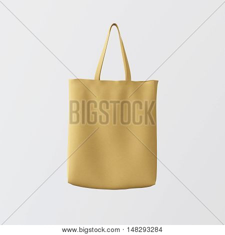 Closeup Natural Brown Cotton Textile Bag Hanging Center White Empty Background.Isolated Mockup Highly Detailed Texture Materials.Space for Business Message. Square. 3D rendering