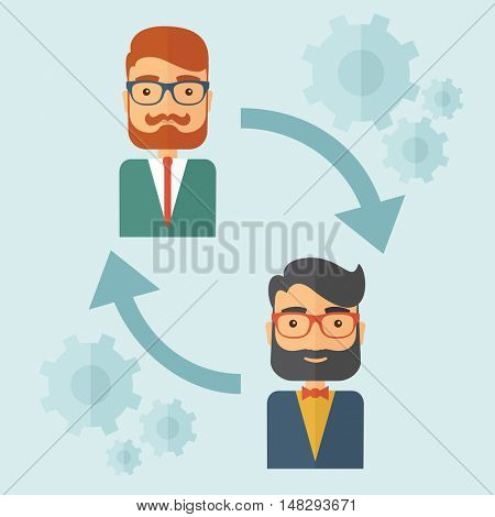 Two young Caucasian gentlemen with beard. Business exchange, emoloyee replacement concept. A contemporary style with paste palette, soft blue tinted background. flat design illustration. Square layout