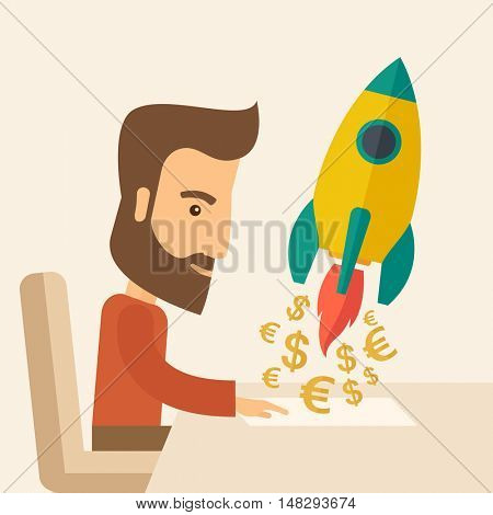 A Caucasian young man with beard sitting with those EURO and DOLLAR sign infront of him, it is a symbol of  starting new project. Launch a new innovation product concept. A contemporary style with