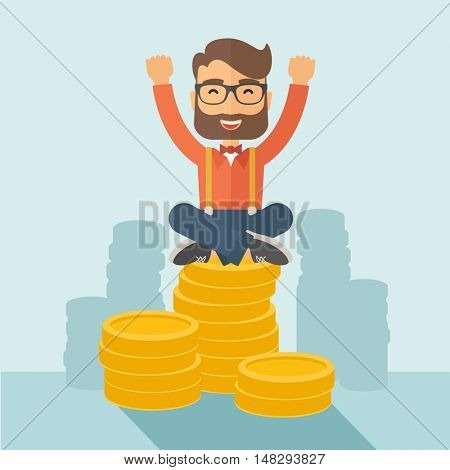 An overjoyed young hipster Caucasian man with beard sitting on the top of  coins. Happily raising his two hands to show that he is a winner. Happy, winner concept. A contemporary style with pastel