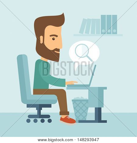 A buisnessman sitting infront of his laptop and bubble with magnifying glass signifies to search of information in computer network. Searching concept. . A contemporary style with pastel palette, soft