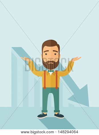 The man with a beard with falling down chart is confused. Bankruptcy concept.  flat design illustration. Vertical layout with a text space in a top.